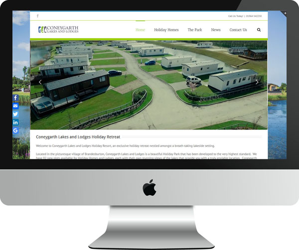 Web Design Project Coneygarth Lakes and Lodges - Desktop View