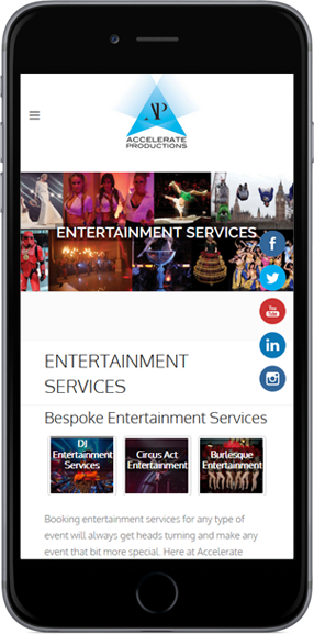 Web Design Project Accelerate Productions - iPhone View