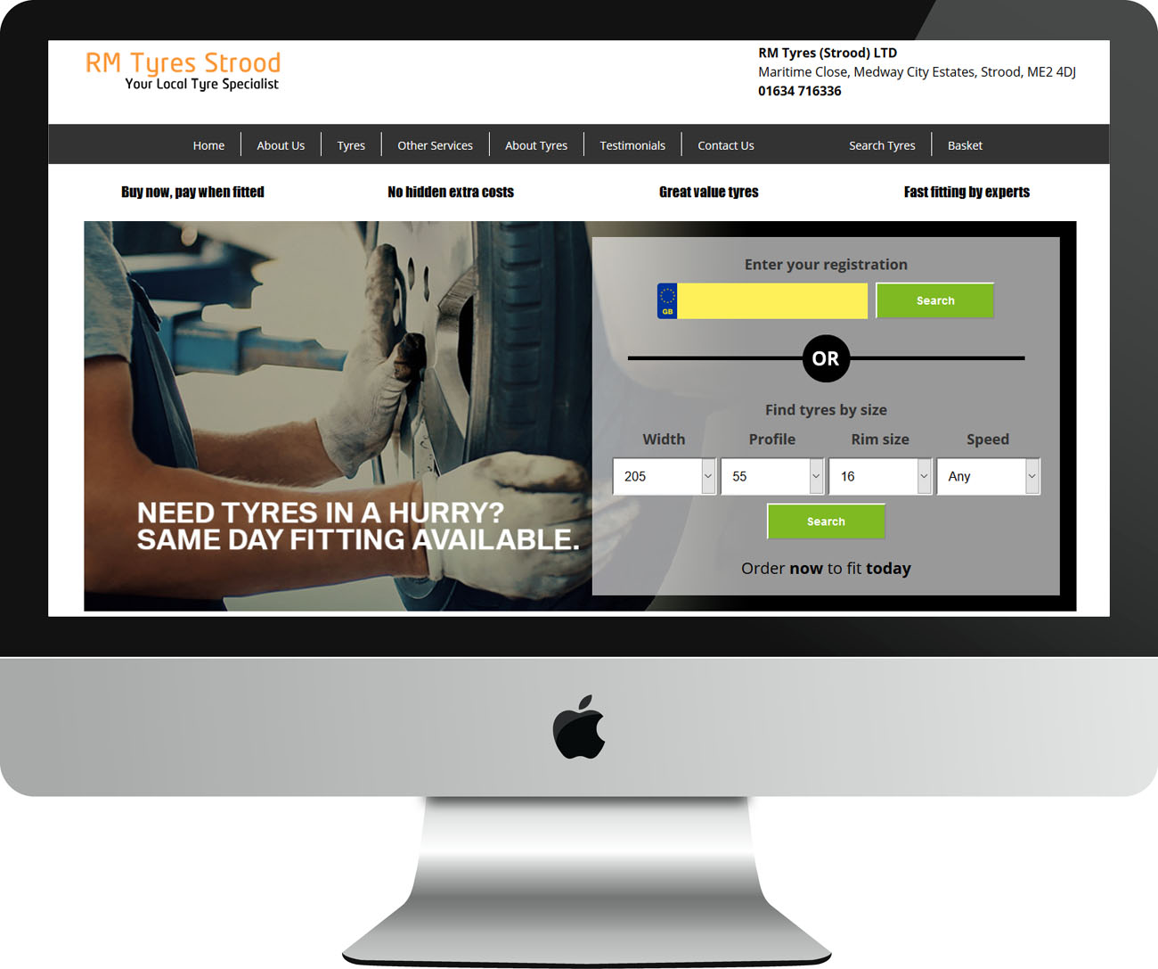 Web Design Project RM Tyres (Strood) Ltd - Desktop View