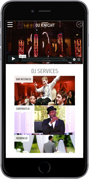 Web Design Project DJ Knight - iPhone View