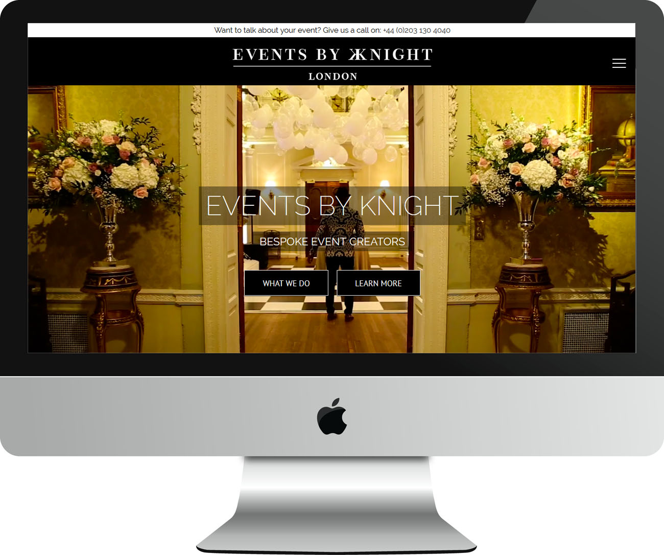 Event Planning Website Design Events by Knight - iMac View - The Complete Web Co Design