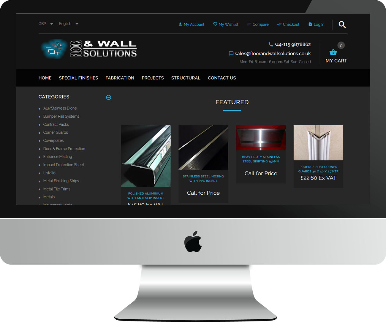 Web Design Project Floor and Wall Solutions - iMac View