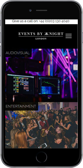 Event Planning Website Design - iPhone View
